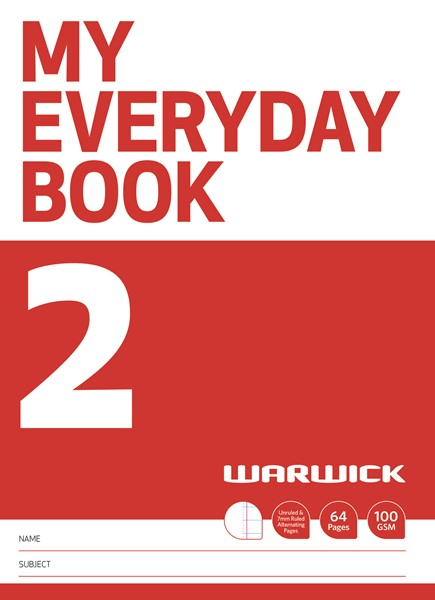 Warwick FSC Mix 70% My Everyday Book 2 Unruled & 7mm Ruled Alternate 64 Page -