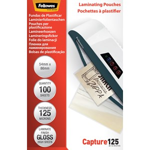 Fellowes Laminating Pouches 54x86mm 125 Micron Pack 100