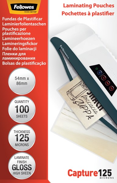 Fellowes Laminating Pouches 54x86mm 125 Micron Pack 100 - pr_1721422