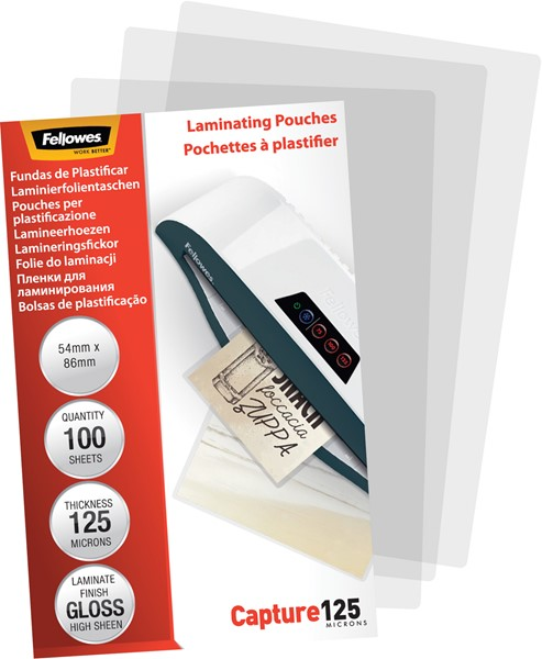 Fellowes Laminating Pouches 54x86mm 125 Micron Pack 100 - pr_1721430
