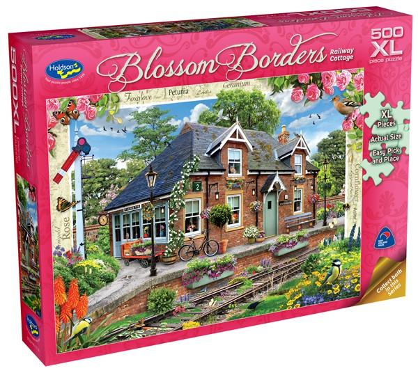 Blossom Borders 500 XL Piece Jigsaw Puzzle Railway Cottage -