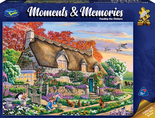 Moments & Memories S2 1000 Piece Jigsaw Puzzle Feeding the Chickens - pr_1747067