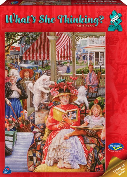 What's She Thinking? 1000 Piece Jigsaw Puzzle Cat in the Hat - pr_1747092