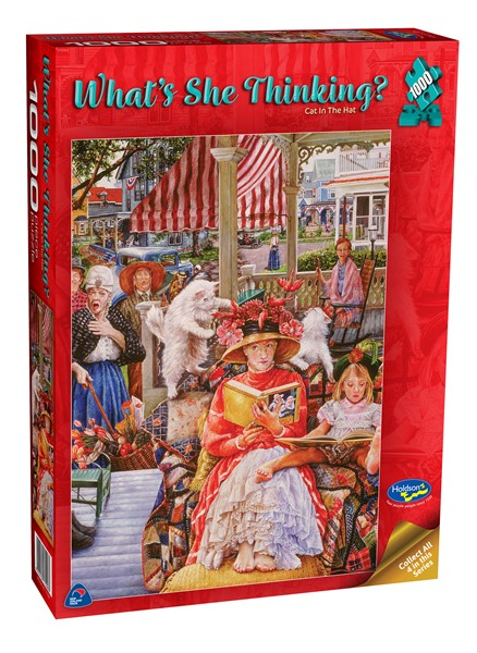 What's She Thinking? 1000 Piece Jigsaw Puzzle Cat in the Hat - pr_1747093