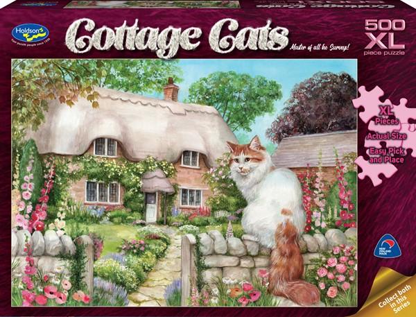 Cottage Cats 500 XL Piece Jigsaw Puzzle Master of All He Surveys! - pr_1747085