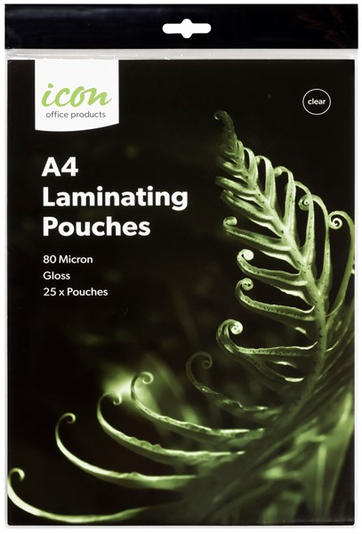 Icon Laminating Pouches A4 80 Micron Pack of 25  - pr_1745939