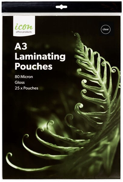 Icon Laminating Pouches A3 80 Micron Pack of 25  - pr_1745940
