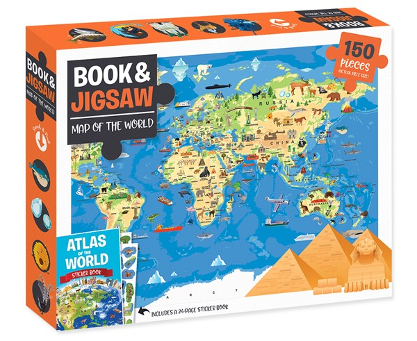 Book and 150-Piece Jigsaw: Map Of The World -