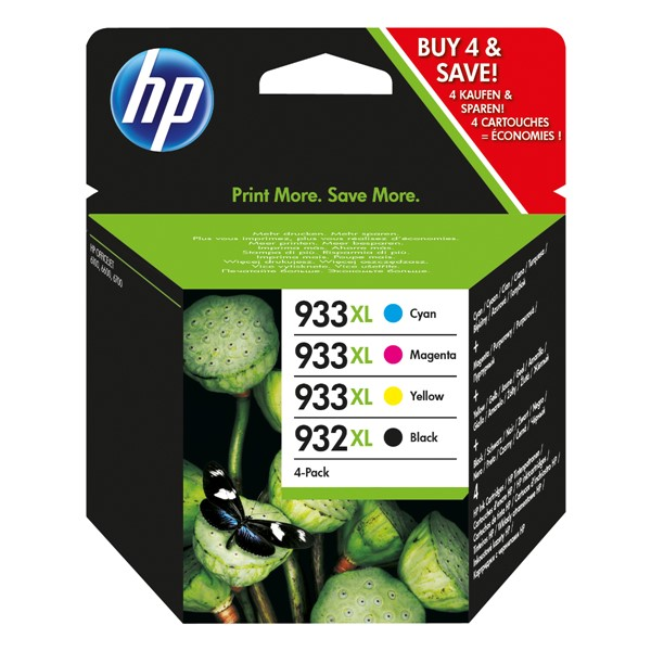 HP 932XL Black + 933XL Colour High Yield Ink Cartridge Combo Pack  -