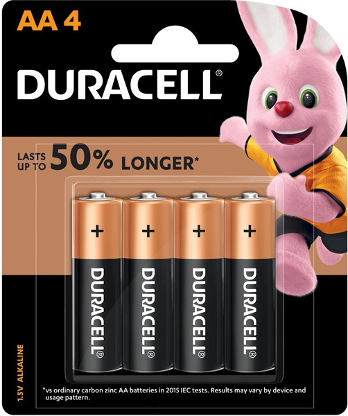 Duracell Coppertop AA Battery Pack of 4 -