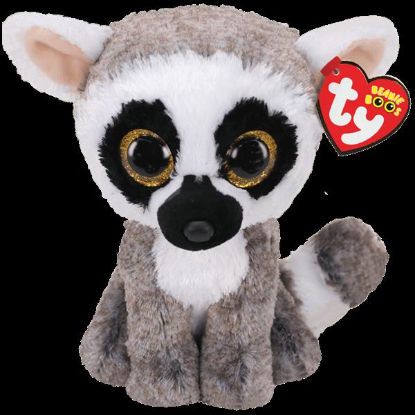 Ty Beanie Boo Linus Grey and White Lemur - Regular -