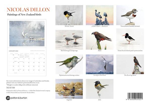 2022 Calendar Nicolas Dillon NZ Bird Paintings -