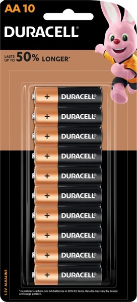 Duracell Coppertop AA Battery Pack of 10 -