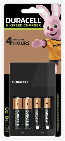 Duracell Hi-Speed Battery Charger + 2 AA, 2 AAA -
