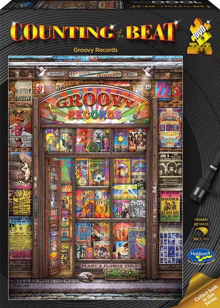Counting the Beat 1000 Piece Jigsaw Puzzle Groovy Records -