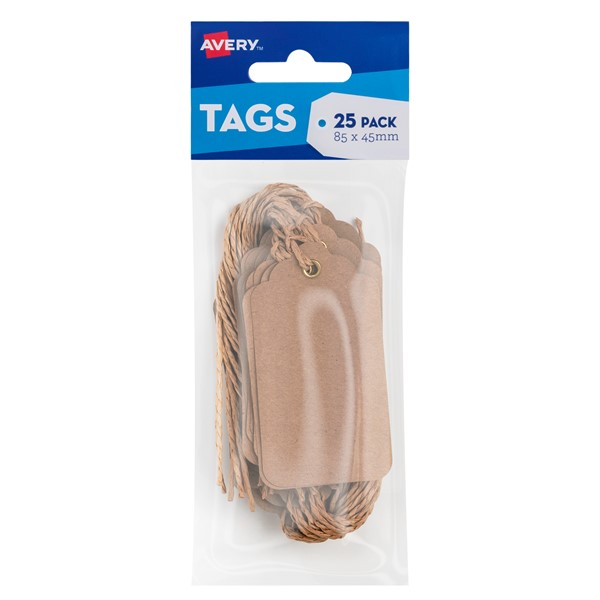Avery Kraft Brown Scallop Tags - 85x45mm w-string 25 pack -