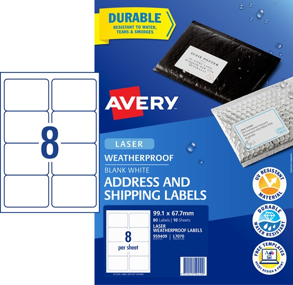 Avery L7070 Weatherproof Label- 8Up 99.1mmx67.7mm 10 Pk -