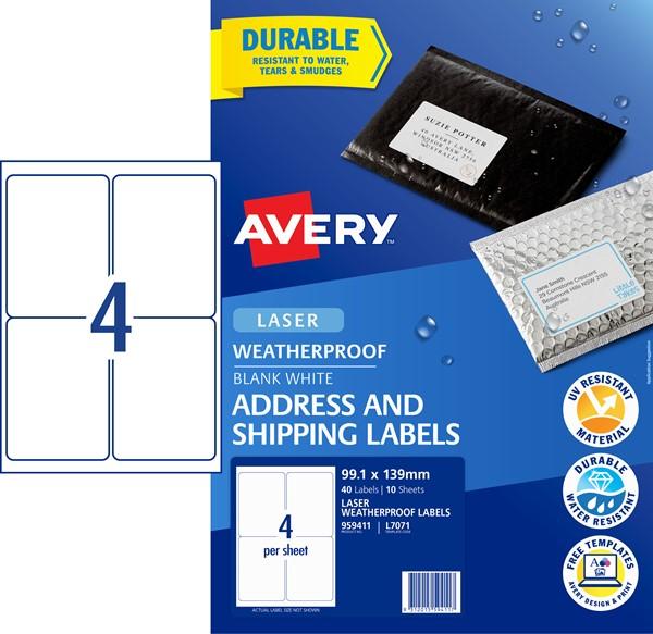 Avery L7071 Weatherproof Label- 4Up 99.1X139mm 10 Pk -