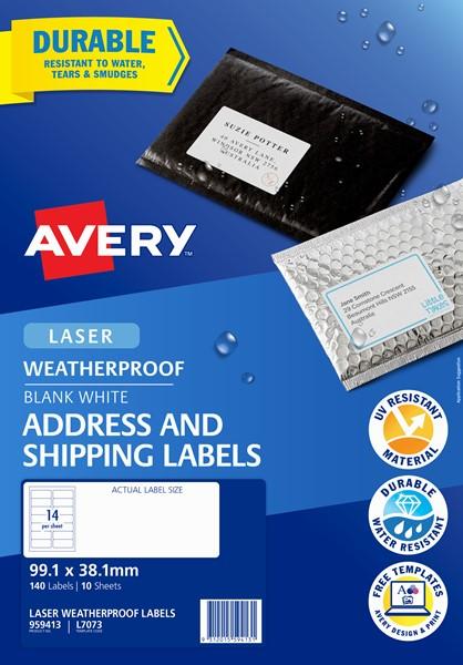 Avery L7073 Weatherproof Label - 14Up 99.1X38.1mm 10 Pk -