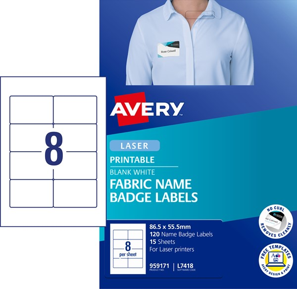 Avery Label Fabric Badge L7418 86.5 x 55.5mm 15 Sheets -