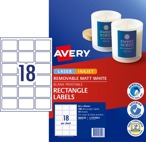 Avery Label L7107REV Rectangular White 18up 10 Sheets -