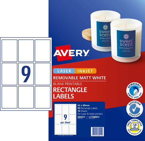 Avery Removable Rectangular Labels 10 Sheets 9 Up White L7108REV -