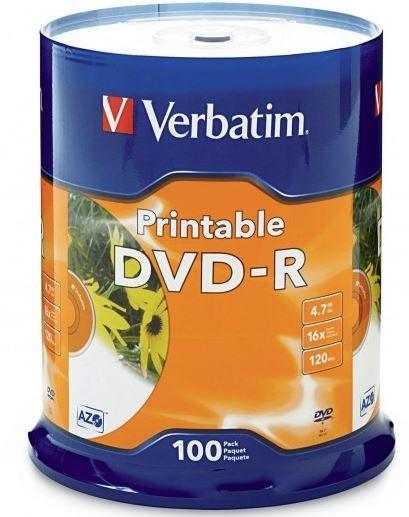Verbatim DVD-R 4.7GB 16x White Printable 100 Pack on Spindle -