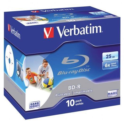 Verbatim BD-R 25GB 6X White Wide Printable 10 Pack in Jewel Cases -