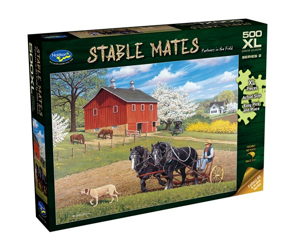Stable Mates 500 XL Piece Jigsaw Puzzle Partners in the Field -
