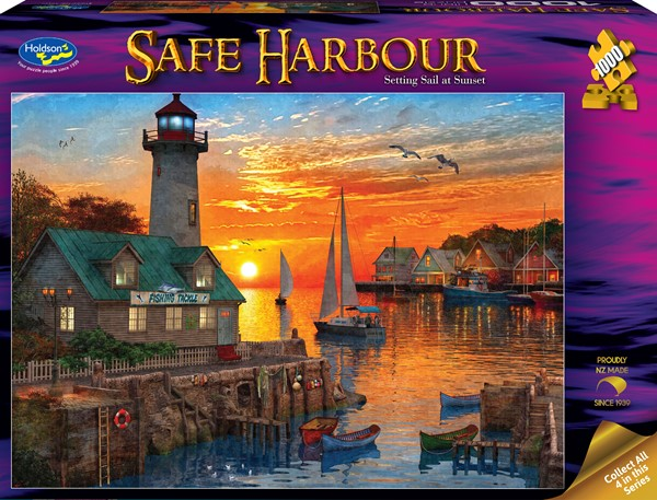 Safe Harbour 1000 Piece Jigsaw Puzzle Setting Sail at Sunset -