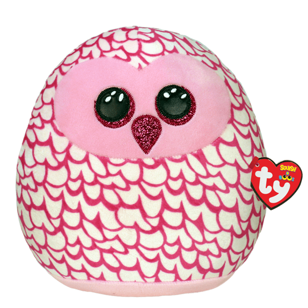 Ty Squish-A-Boo Pinky Pink Owl - Medium -