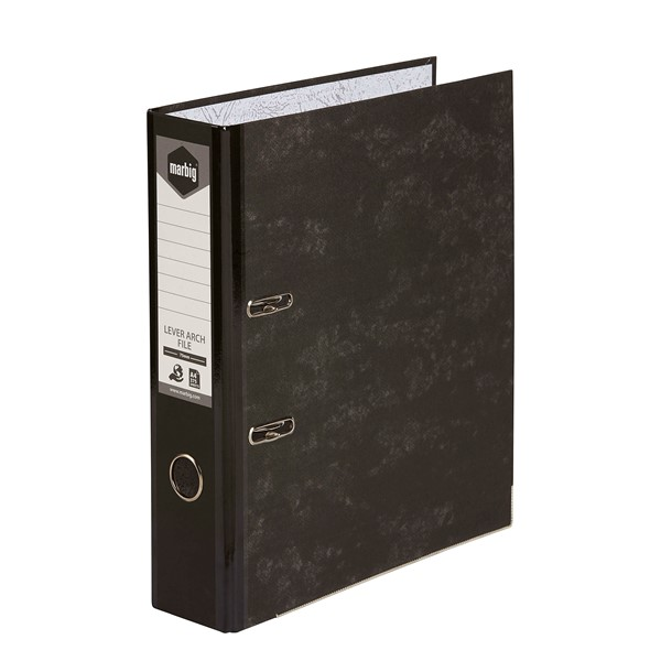 Marbig Lever Arch File Reinforced Spine A4 Black  -