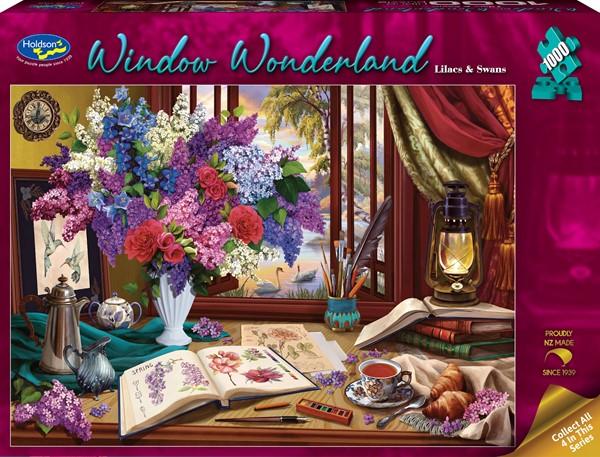 Window Wonderland 1000 Piece Jigsaw Puzzle Lilacs & Swans -