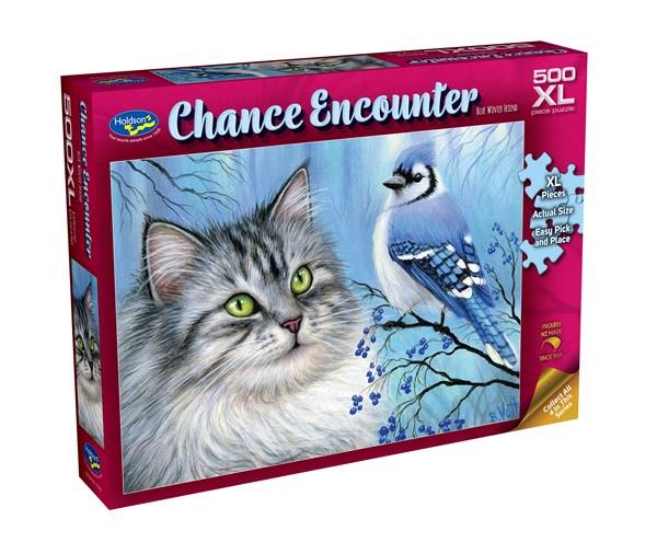 Chance Encounter 500XL Piece Jigsaw Puzzle - Blue Winter Friend -