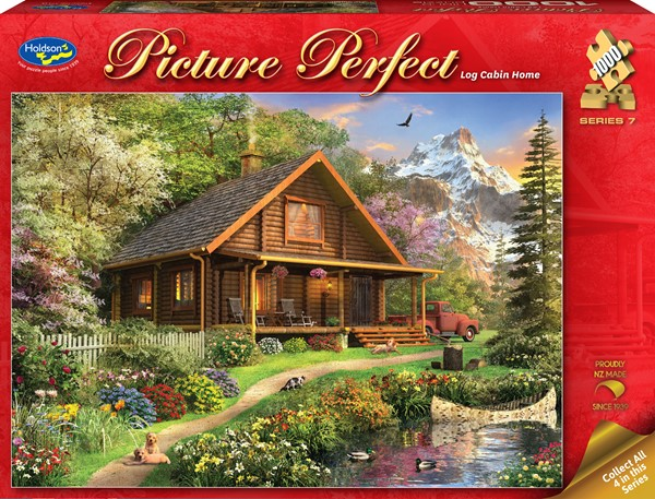 Picture Perfect 1000 Piece Jigsaw Puzzle - Log Cabin Home -