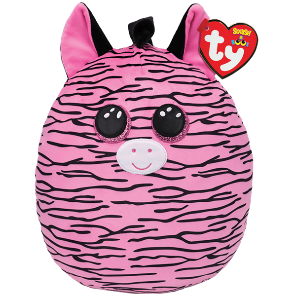 Ty Squish-A-Boo Zoey Pink & Black Striped Zebra - Large -