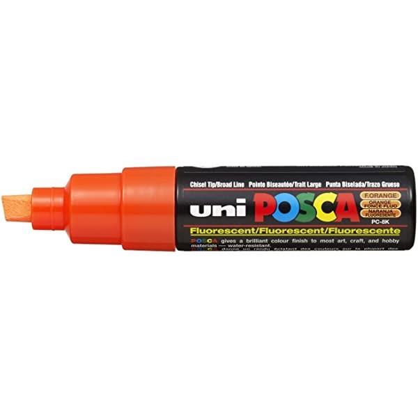 Uni Posca Marker 8.0mm Bold Chisel Fluoro Orange -