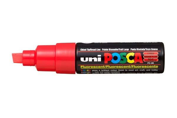 Uni Posca Marker 8.0mm Bold Chisel Fluoro Red -